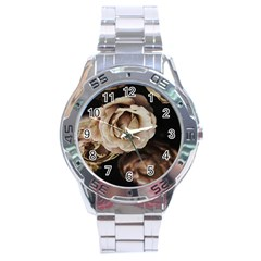 Roses Flowers Stainless Steel Analogue Watch