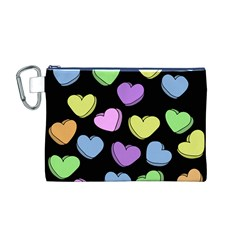 Valentine s Hearts Canvas Cosmetic Bag (m)