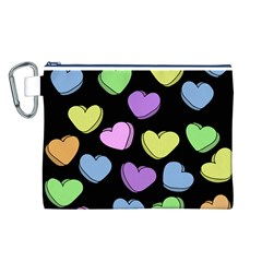 Valentine s Hearts Canvas Cosmetic Bag (l)