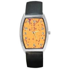 Orange decor Barrel Style Metal Watch