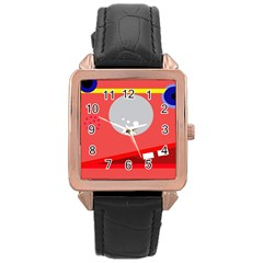 Cute face Rose Gold Leather Watch