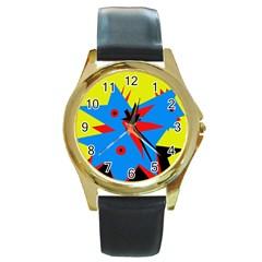 Clock Round Gold Metal Watch