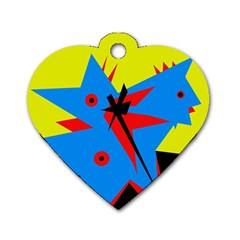 Clock Dog Tag Heart (One Side)