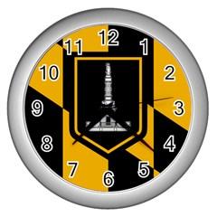 Flag of Baltimore  Wall Clocks (Silver)