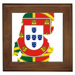 Flag Map of Portugal Framed Tiles