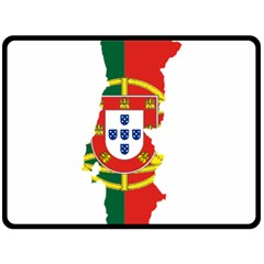 Flag Map of Portugal Double Sided Fleece Blanket (Large)