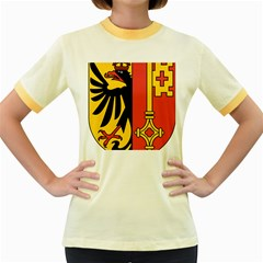 Coat of Arms of Geneva Canton  Women s Fitted Ringer T-Shirts