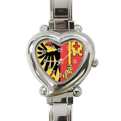 Coat of Arms of Geneva Canton  Heart Italian Charm Watch