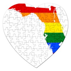 LGBT Flag Map of Florida Jigsaw Puzzle (Heart)