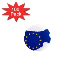 European Flag Map Of Cyprus  1  Mini Magnets (100 Pack)