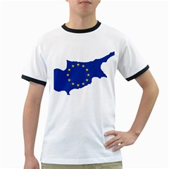 European Flag Map of Cyprus  Ringer T-Shirts