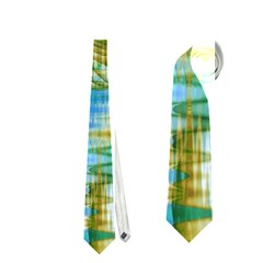 Crystal Gold Peacock, Abstract Mystical Lake Neckties (One Side)