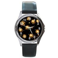 Golden balls Round Metal Watch