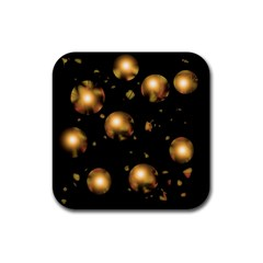 Golden balls Rubber Square Coaster (4 pack)