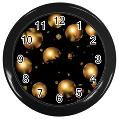 Golden balls Wall Clocks (Black)