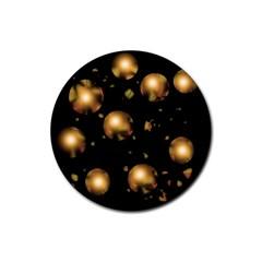 Golden balls Rubber Coaster (Round)