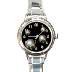 Silver pearls Round Italian Charm Watch