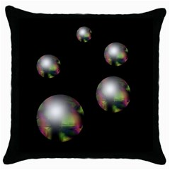 Silver pearls Throw Pillow Case (Black)