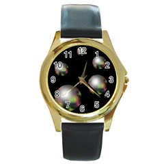 Silver pearls Round Gold Metal Watch