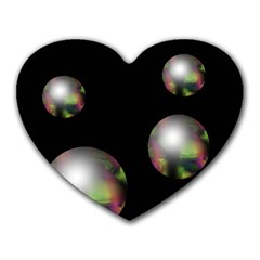 Silver pearls Heart Mousepads