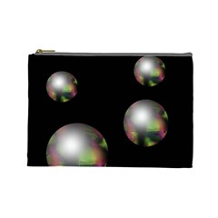 Silver pearls Cosmetic Bag (Large)