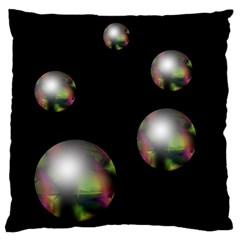 Silver pearls Large Flano Cushion Case (One Side)