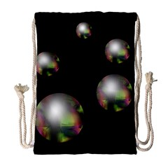 Silver pearls Drawstring Bag (Large)
