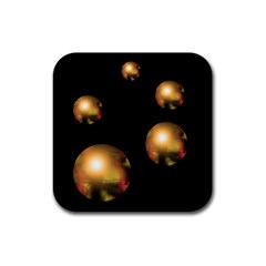 Golden pearls Rubber Square Coaster (4 pack)