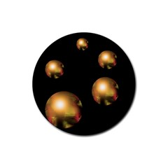 Golden pearls Rubber Round Coaster (4 pack)