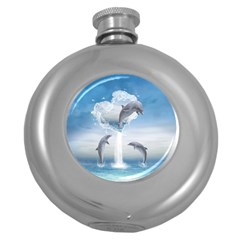 The Heart Of The Dolphins Hip Flask (Round)