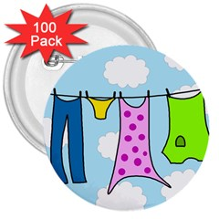 Laundry 3  Buttons (100 pack)