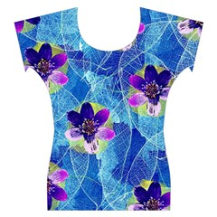 Purple Flowers Women s Cap Sleeve Top