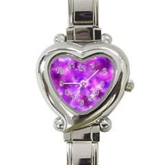 Purple Splatter Pattern Heart Italian Charm Watch