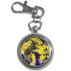 Yellow And Purple Splatter Paint Pattern Key Chain Watches