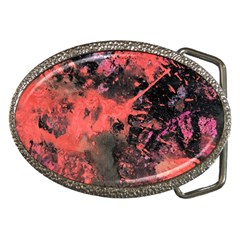 Pink And Black Abstract Splatter Paint Pattern Belt Buckles