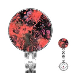 Pink And Black Abstract Splatter Paint Pattern Stainless Steel Nurses Watch