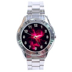 Pink Flame Fractal Pattern Stainless Steel Analogue Watch
