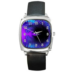 Purple And Blue Lake Fractal Square Metal Watch