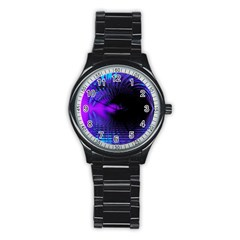 Purple And Blue Lake Fractal Stainless Steel Round Watch
