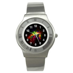 Bright Multi Coloured Fractal Pattern Stainless Steel Watch
