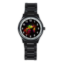 Bright Multi Coloured Fractal Pattern Stainless Steel Round Watch