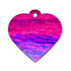 Pink And Blue Water Dog Tag Heart (One Side)