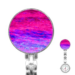 Pink And Blue Water Stainless Steel Nurses Watch