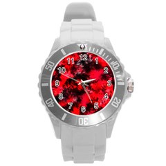 Black And Red Pattern Round Plastic Sport Watch (L)