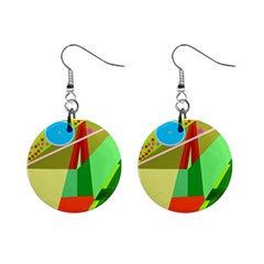 Colorful abstraction Mini Button Earrings