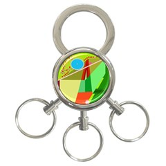 Colorful abstraction 3-Ring Key Chains
