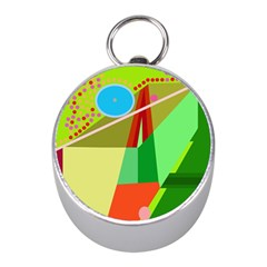 Colorful abstraction Mini Silver Compasses