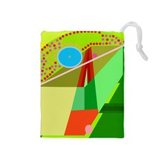 Colorful abstraction Drawstring Pouches (Medium)