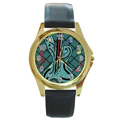 Blue guitar Round Gold Metal Watch