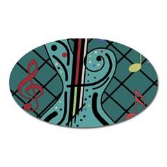 Blue guitar Oval Magnet